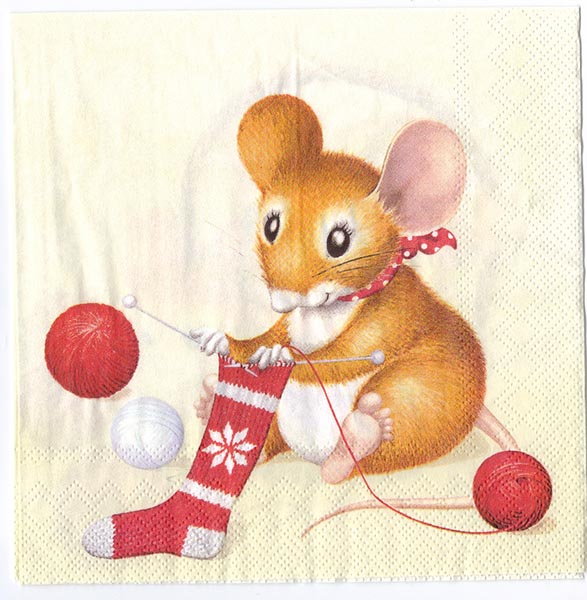 Christmas Mouse.Decoupage Paper Of Christmas Mice Knitting Napkin