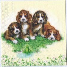 Decoupage Paper Art Napkin | Puppies