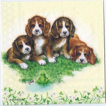 Decoupage Paper Art Napkin | Puppies