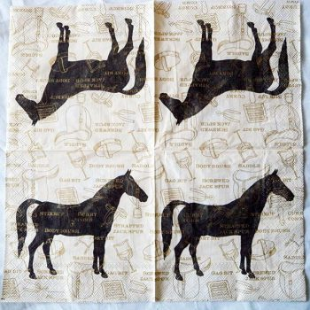 Decoupage Paper Art Napkin | Classic Horse and Tack