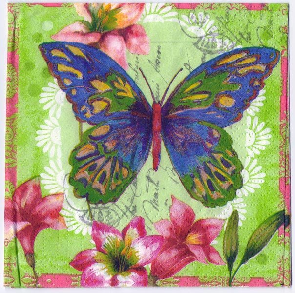 Decoupage Paper Of Aporia Butterfly With Flowers Napkin