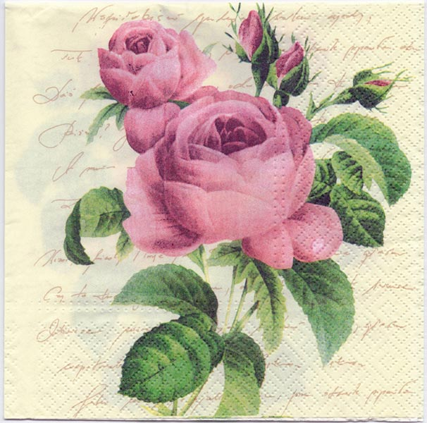 Decoupage Paper of Regal Purple Rose in a Botanical Print Napkin