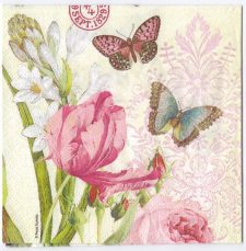 Decoupage Paper Art Napkin | Flowers and Butterflies