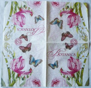 Decoupage Paper Art Napkin | Flowers and Butterflies