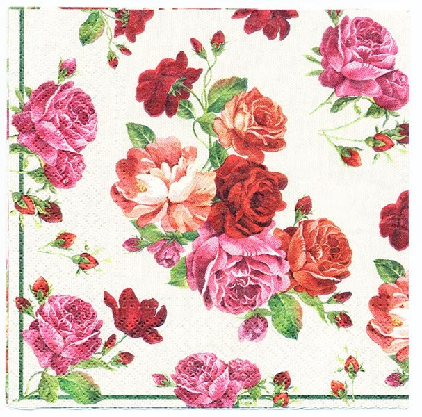 Decoupage Paper of Shower of Roses Napkin