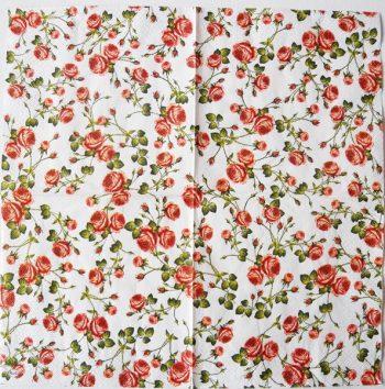 Decoupage Paper Art Napkin | Tiny Roses on White