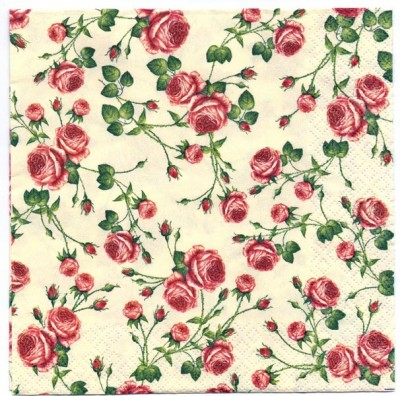 Decoupage Paper Art Napkin   Tiny Roses on Cream