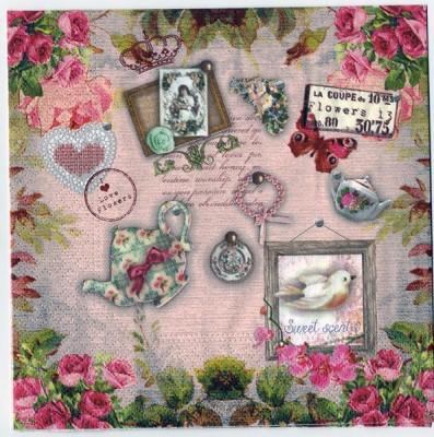 Decoupage Paper Art Napkin | I Love Flowers