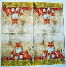 Decoupage Paper Art Napkin | Foxes-Mother and Pups