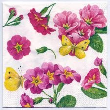 Decoupage Paper Art Napkin | Primroses and Butterflies
