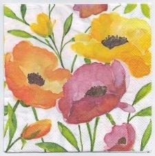 Decoupage Paper Art Napkin | Poppies in Watercolor