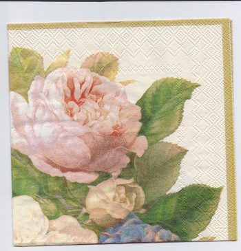 Decoupage Paper Art Napkin | Shimmering Roses