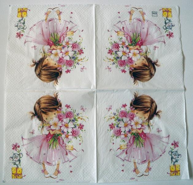 Decoupage napkins of flower girl decoupage paper art napkin flower girl mightylinksfo