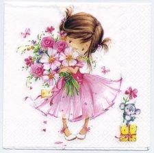 Decoupage Paper Art Napkin   Flower Girl