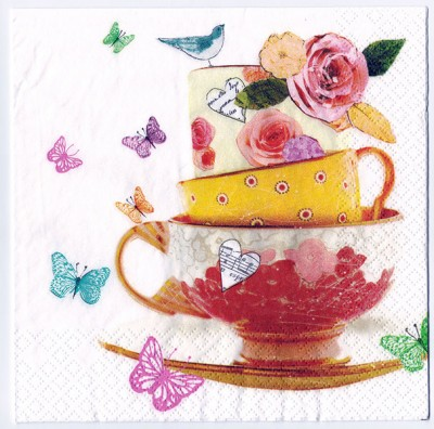 Decoupage Paper Art Napkin |Tea Cup of Roses
