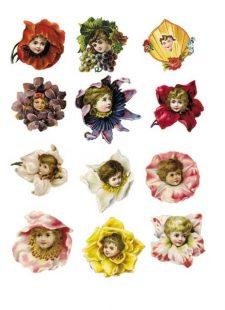 Decoupage Instant Download   Flower Babies