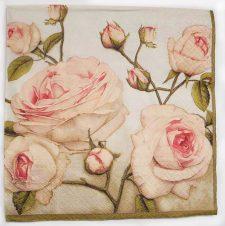 Decoupage Paper Art Napkin - Pastel Roses