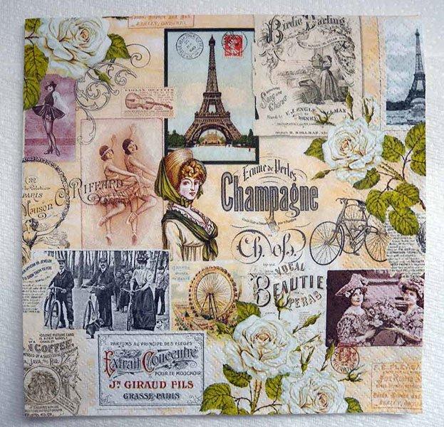 Decoupage Paper of Vintage Paris Eiffel Tower Napkin – Chiarotino