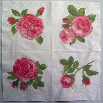 Decoupage Paper Art Napkin   Quartet of Roses