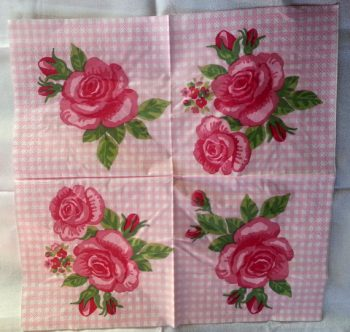 Decoupage Paper Art Napkin | Red Rose on a Checkered Background