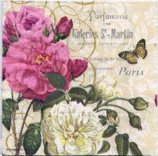 Decoupage Paper Art Napkin | Paris Roses Perfumery and a Butterfly