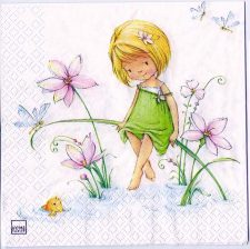 Decoupage Paper Art Napkin | Girl with Flowers and Fish