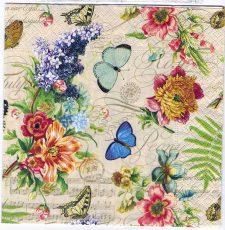 Decoupage Paper Art Napkin | Summer of Butterflies and Flowers