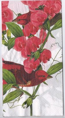 Decoupage Paper Art Napkin   Orchids and Purple Finches