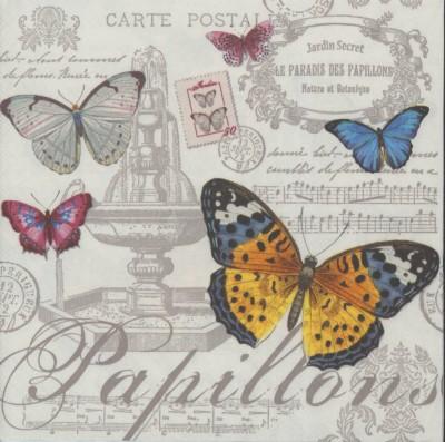 Decoupage Paper Napkins   Paris Butterflies and Postcards   Butterfly Napkins   Paris Napkins   Paper Napkins for Decoupage