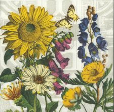 Decoupage Paper Napkins | Garden with Sunflowers and Butterfly | Floral Napkins | Butterfly Garden Napkins | Paper Napkins for Decoupage