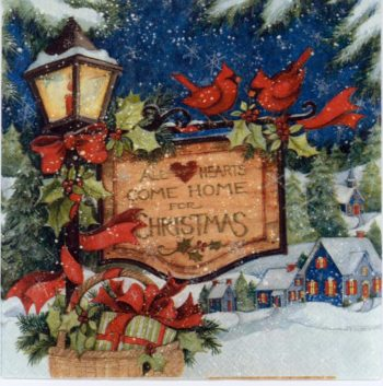 Christmas Napkins Cardinals in the Snow
