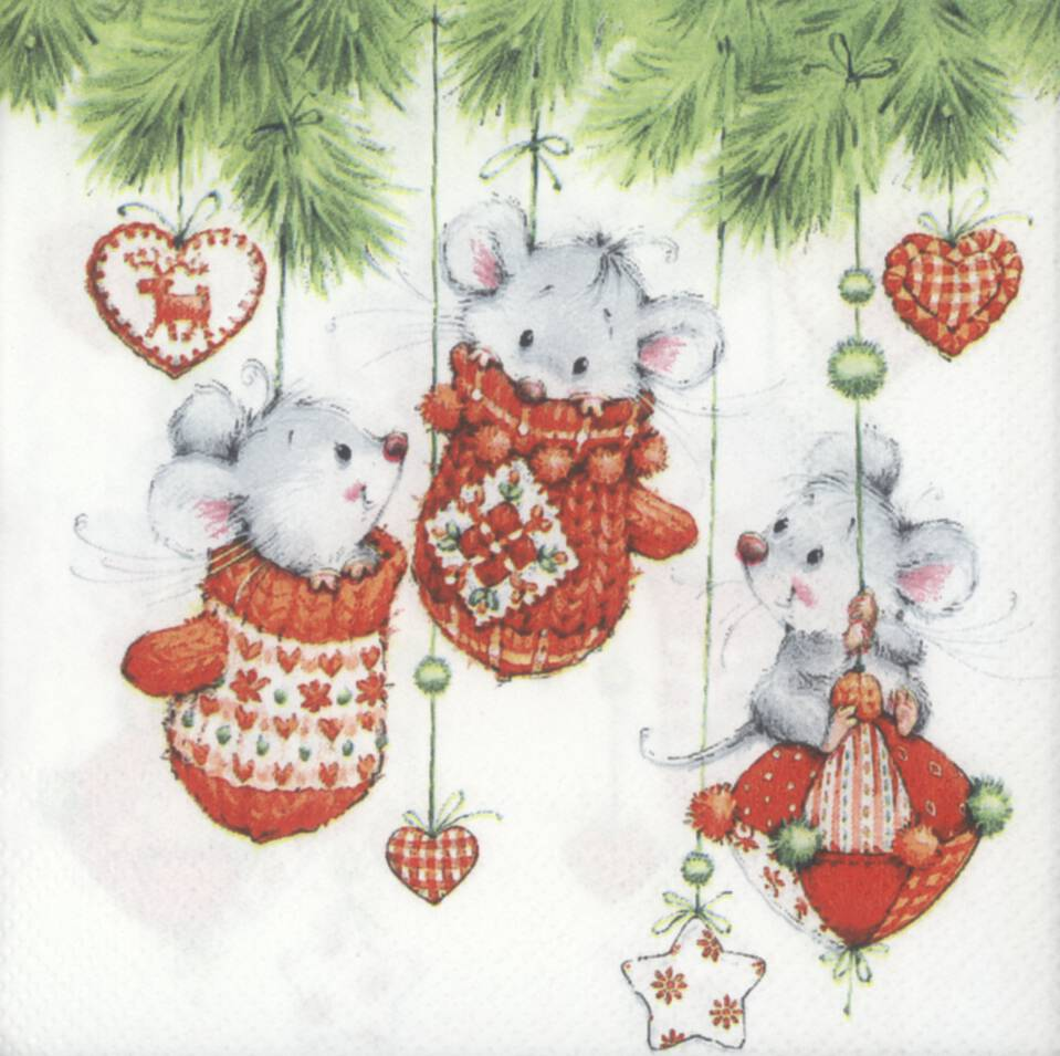 Christmas Napkins.Decoupage Paper Napkins Of Christmas Mice Playing In Tree