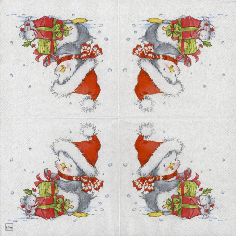 Christmas Napkins.Decoupage Paper Napkins Of Christmas Penguin And Mouse