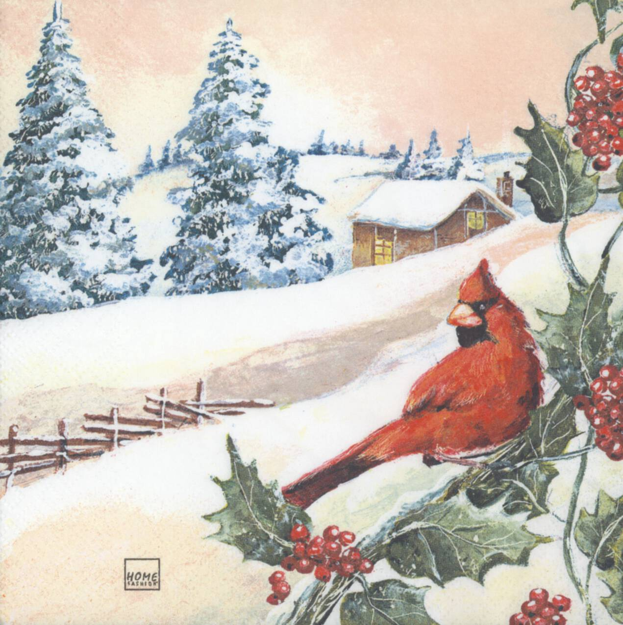 Decoupage Paper Napkins of Christmas Cardinal and Cabin in the Snow