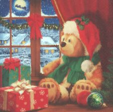Decoupage Paper Napkins | Christmas Teddy Bear | Christmas Toy Napkins | Teddy Bear Napkins |Christmas Eve | Paper Napkins for Decoupage