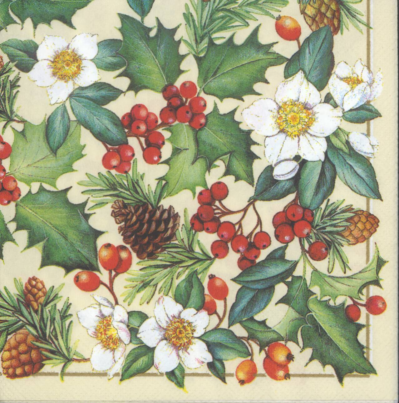 100 Napkins Christmas Tree Compare Prices On Deer  : decoupage paper napkin christmas rose holly pinecone floral CHN00344 1 from 45.32.79.15 size 1278 x 1288 jpeg 235kB