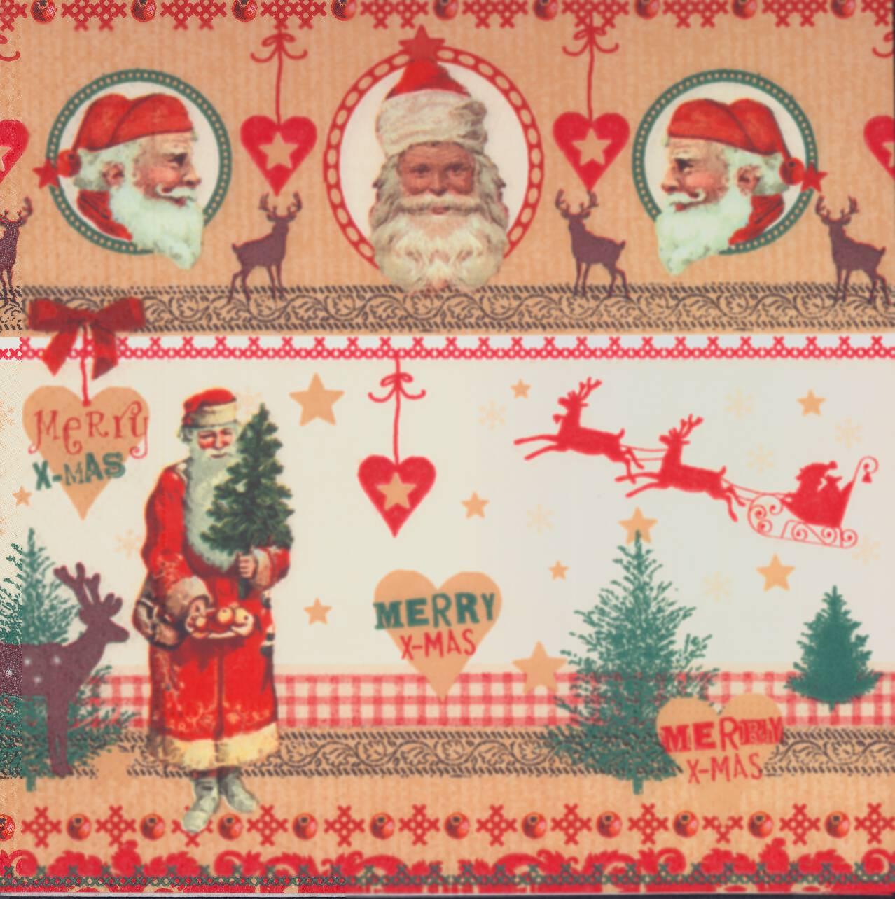 Christmas Napkins.Decoupage Paper Napkins Of Christmas With Santa Claus And Reindeer