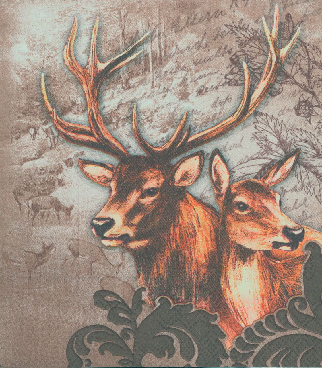 decoupage paper napkins of stag and doe in winter snow