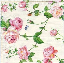 Decoupage Paper Napkins | Rambling Pink Roses and a Blue Butterfly on Cream | Rose Napkins | Floral Cocktail Paper Napkins for Decoupage