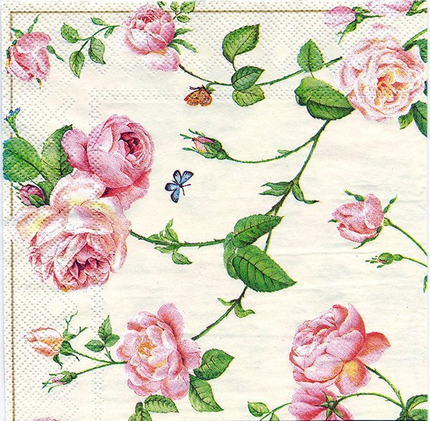 Decoupage Paper Napkins of Rambling Pink Roses and a Blue Butterfly