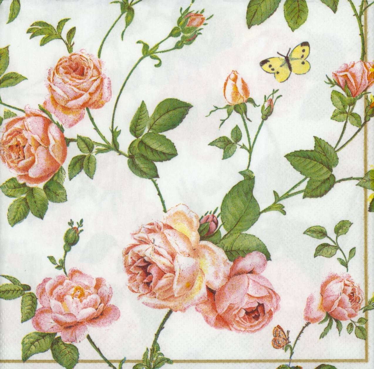 Decoupage paper napkins of rambling pink roses and a blue butterfly mightylinksfo