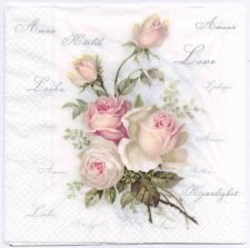 Decoupage Paper Napkin | Vintage Roses of Amour | Rose Napkins | Floral Napkins | Design Dinner Napkiins | Paper Napkins for Decoupage