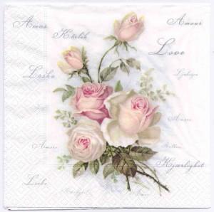 Decoupage Paper Napkin | Vintage Roses of Amour | Rose Napkins | Floral Napkins | Design Dinner Napkiins | Paper Napkins for Decoupage