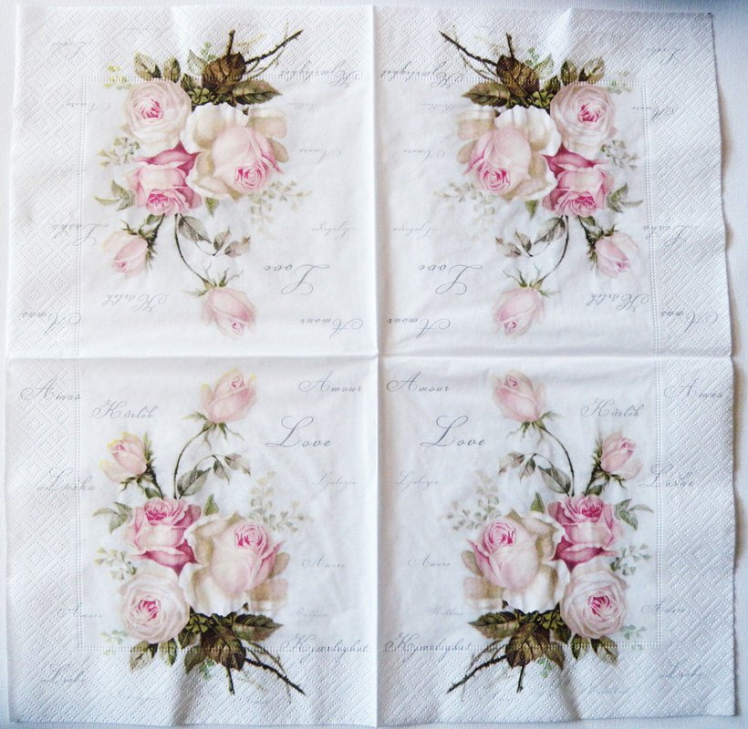 decoupage paper napkins of roses of amour