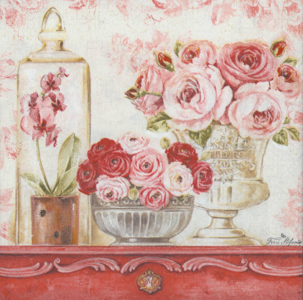 decoupage paper napkins of shabby roses on a mantle. Black Bedroom Furniture Sets. Home Design Ideas