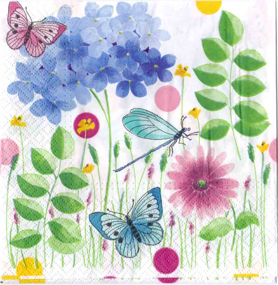 Decoupage paper art napkin butterflies and dragonfly in a summer