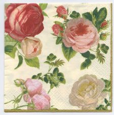 Decoupage Paper Napkins | Coterie of Beautiful Roses with a gold border  | Paper Napkins for Decoupage