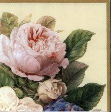 Decoupage Paper Napkins | Shimmering Fairy Roses on Cream | Paper Napkins for Decoupage