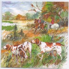 Decoupage Paper Napkins | Water Color of a Fox Hunt w/Horses Dogs | Paper Napkins for Decoupage