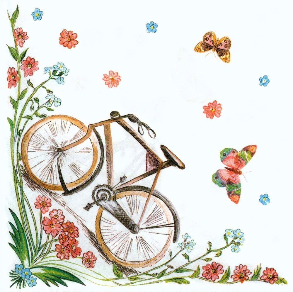 Decoupage Napkins Of Shabby Chic Bicycle Butterflies And Flowers